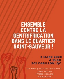 Affiche sur fond couleur tangerine : dessin de poings levés (rouge). « Ensemble contre la gentrification ...»