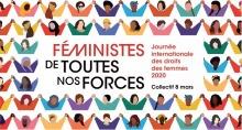 Affiche du 8 mars 2020 au Québec produite pour la FFQ. Une centaine de petits personnages colorés, les bras levés. « Féministes de toutes nos forces ».