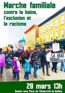 Affiche sur fond d'une photo d'une manifestation sur une rue de Québec. Des enfants vers l'avant, en vêtement pour l'hiver.