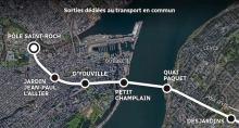 Carte de style Google Map Earth : une large ligne blanche traverse du quartier Saint-Roch à Desjardins à Lévis. Passant par le Petit Champlain, La Place D'Youville, etc.