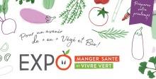 Affichette : dans le mot EXPO, le O est comme une tomate avec deux yeux. Petits dessins de légumes. « Pour un avenir de plus en plus végé et bio ».