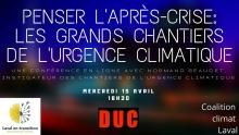 Affiche horizontale : sur fond flou d'une ville au ciel violet. Logo : Laval en transition ; DUC ; Coalition Climat Laval.