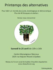Affiche sur fond vert pomme pâle : au centre, dessin de trois personnes (ombres noirs) tenant des branches d'arbre feuillues.