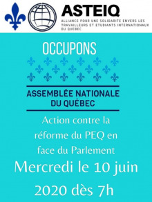 Affiche sur fond bleu turquoise vif : symbole de l'Assemblée nationale du Québec et Fleur de lys bleu - ASTEIQ.