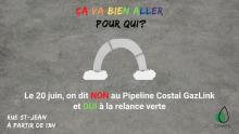 Affichette sur fond gris marbré : « Ça va b ien aller pour qui ? » Un arc-en-ciel gris. Logo CEVES (goutte d'eau avec un cercle vert)