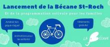 Affiche horizontale sur fond turquoise vif : dessin d'un vélo et bulles de paroles bleu marin « Amène ton pique-nique ; animations pour les enfants ; vêtements gratuits »