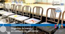 Affiche sur fond d'une photo de 8 sièges en bois, mais certains ont un X colorés dessus. « Ensemble pour vous - Vos comités sectoriels » - Logo du Québec.