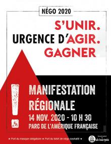 Affiche sur fond blanc, noir, avec triangle rouge : « Négo 2020 - Manif régionale »