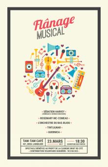 Affiche à la verticale sur fond beige : une trentaine de petits dessins colorés d'instruments de musique, placés dans des angles multiples, formant ensemble un gros cercle.