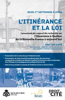 Affiche : sur fond de photos d'archives de quartiers de la ville de Québec.