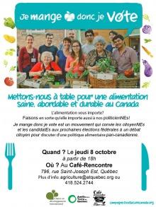 Affiche : photo de groupes devant une table couverte de fruits et légumes.