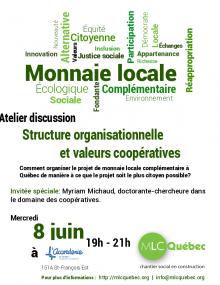 Affiche : des mots sont écrits ici et là à la vertical et à l'horizontal : innovation, équité, écologique, sociale. On discerne surtout les mots Monnaie locale. Logo de L'Accorderie et du MLC-Québec.
