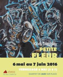 Affichette : dessin comme à la craie colorée sur un tableau noir, représentant deux musiciens de saxophone.