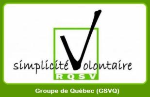 Logo du Réseau québécois de simplicité volontaire : un crochet noir dans une case verte.  Le crochet remplace la lettre V dans volontaire.