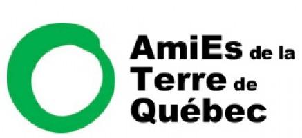 Logo : AmiEs de la Terre de Québec. Il s'agit d'un symbole zen, qui est un cercle non fermé peinturé d'un seul trait, mais de couleur verte.