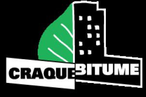 Logo de CraqueBitume : le côté gauche est une feuille verte (vert un peu émeraude) ; le côté droit est un bâtiment noir à plusieurs immeubles, comme un bloc appartement.