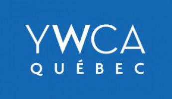 « YWCA Québec » écrit sur fond bleu.
