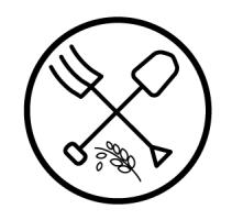 Logo : dessins simples ou linéaires d'une fourche et d'une pelle croisées. Dessous, un épi de blé. Le tout dans un cercle noir.