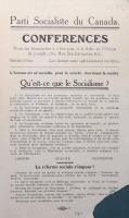 Sur papier beige, tract annonçant les conférences organisées par le Parti socialiste du Canada à Montréal vers 1911.