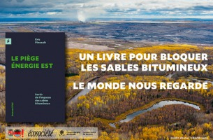 Affiche tirée du site d'ÉcoSociété : la page couverture du livre, simple texture bleu marin, est collée sur fond d'une photo spectaculaire d'un paysage forestier en automne au Québec. L'horizon, avec des rivières, est visible de très loin avec une couverture nuageuse blanche. Logo : Coule pas chez nous, etc.