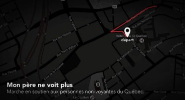 Carte, très sombre, presque noir, du secteur de la ville où aura lieu la marche.
