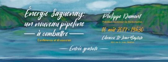 Affiche sur fond d'une peinture d'une partie du fleuve : l'eau, en « tranches » de peinture de textures bleautées différentes. Berges très vertes.