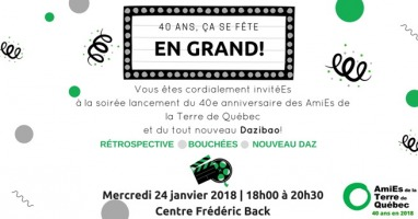 Affichette sur fond blanc avec des guirlandes noires, ballons verts et confettis. « 40 ans, ça se fête en grand ! » « Rétrospective - Bouchées - Nouveau Daz ».