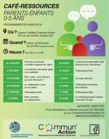 Affiche sur fond vert présentant les dates et les thèmes. Logo : Avenir d'enfants ; Commun'Action - Regroupement 0-5 ans Saint-Sauveur et Saint-Roch.