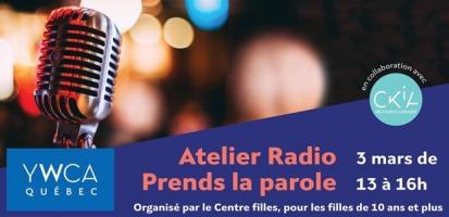 Affiche : photo d'un micro de radio ancien style, chrome argenté. Derrière des lumières hors focus, donc floues. Logo : YWCA Québec et CKIA.