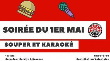 Affichette sur fond rouge vif : dessin d'un hamburger et d'un micro. Logo IWW-SITT. Indique 18 pm à 3 am.