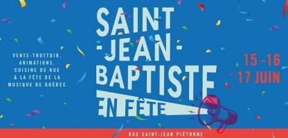 Affichette sur fond bleu : confettis, porte voix mauve. Vente-trottoir, animations, cuisine de rue et Fête de la musique de Québec.