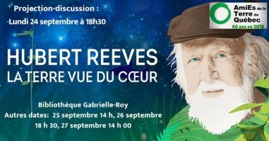 Affichette web : peinture du visage d'Hubert Reeves, soit barbe blanche, regard focalisé vers vous, casquette classique (sytle ouvrier) brune. Peinture d'un ciel de nuit étoilé et de gazon au bas.