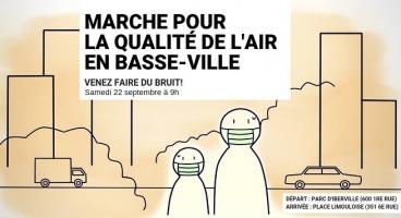 Affichette sur fond beige : dessin simpliste de deux personnes portant un masque sur la bouche ; un camion, une voiture, des gratte-ciels, et des nuages de pollution de l'air.