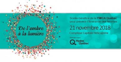 Affichette sur fond bleu ciel foncé : un nuage de petits ronds colorés, formant un cercle éclaté de petits ronds. Logo Hydro-Québec.