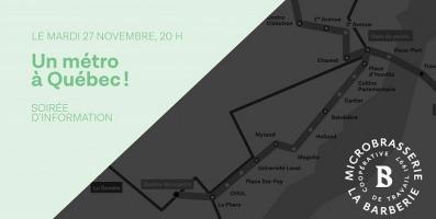 Affiche horizontale sur fond vert très pâle. Un côté est gris et on y voit une carte de métro rappelant un peu celui de Montréal mais avec des lieux de Québec. Logo de La Barbarie.