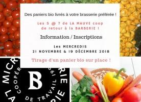 Affichette sur fond de photos de tomates, blé d'inde jaune, logo de La Barberie, légumes variés et colorés sur une assiette.