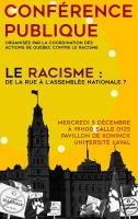 Affiche sur fond jaune : façade du parlement, en gris, et des pancartes de manif anti-immigration devant.