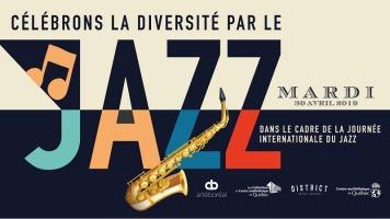 Affichette : JAZZ en lettres géantes, de couleurs différentes. Le haut est beige, le bas est bleu marin.