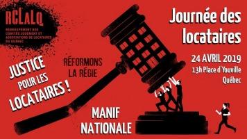 Affichette sur fond rouge foncé : dessin d'un énorme marteau de juge, au manche brisé, qui tombe sur trois petites personnes qui repoussent l'impact. « Justice pour les locataires - Manif nationale »
