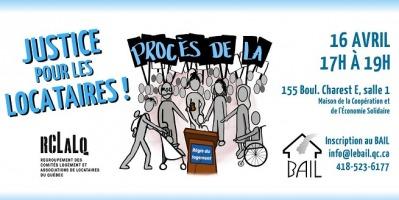 Affichette sur fond blanc: dessin de personnages gris, manifestant en groupe serré, dont une poussette, une personne en fauteuil roulant, etc. Logo du BAIL. Détails transcrits dans cette annonce.