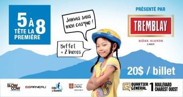 Affiche horizontale : jeune fille portant un casque de vélo bleu et jaune. « Jamais sans mon casque » « buffet et deux bières ». Logo promo : bière Tremblay. Logo: Slow Cow ; Garneau (magasin de vélo) ; CHU UL (hôpital) ; Univ. Laval.