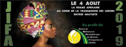 Bannière sur fond noir : JIFA 2019. Photo de la tête d'une femme vue de côté, peau brune, portant un turban haut et coloré. Logo de l'organisme : cercle jaune et route verte.