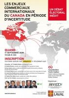 Affiche sur fond blanc : carte du monde avec le Canada en rouge. Six petits portraits des candidatures invitées; une femme. Logo : CEPCI et Univ. Laval