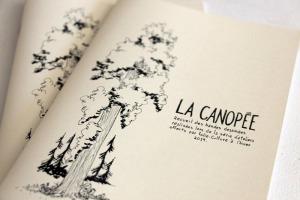 Photo d'un livret beige, avec dessin noir d'un arbre. « La Canopée : recueil des bandes dessinées réalisées lors des ateliers de Folie/Culture à l'hiver 2019 »