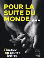 Affiche sur fond noir : photo de deux mains qui se tiennent par les petits doigts. « Pour la suite du monde »