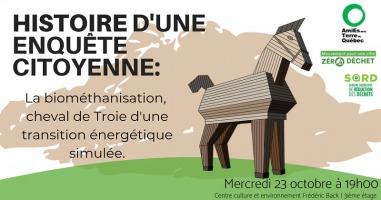 Affiche horizontale : dessin du cheval de troie (en bois) sur un sol vert. Carte géographique beige derrière (inconnue). Logo des deux organismes et de la semaine thématique.