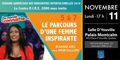 Affiche horizontale : photo d'Irène. « Du monde à connaître ». Logo : RIRE 2000.