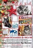 Affiche longue sur fond de bois peinturé en blanc : photos de trois chats avec un nom chacun-e, photo d'un sapin de Noël avec une étoile rouge, logo ACSA. Les détails sont transcrits dans l'annonce ici.