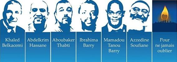 Affichette : six dessin en traits bleus sur les portaits des six victimes avec leur nom. Flame jaune : « Pour ne jamais oublier »