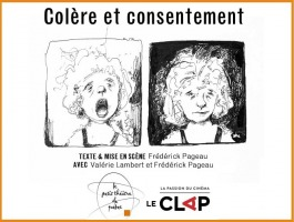 Affiche sur fond blanc : deux dessins au crayon noir. Jeune femme criant, cheveux ébouriffés ; même jeune femme ensuite plus calme, mais en colère, sur fond noir. Logo : Petit théâtre de Québec & Cinéma Le Clap.